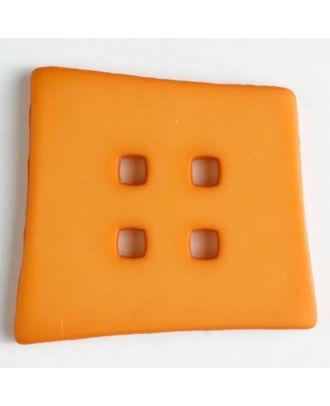Kunststoffknopf Kopfkissenform mit 4 quadratischen Löchern - Größe: 55mm - Farbe: orange - Art.Nr. 405507