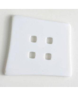 Kunststoffknopf Kopfkissenform mit 4 quadratischen Löchern - Größe: 55mm - Farbe: weiss - Art.Nr. 400084