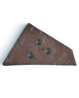 Kunststoffknopf ungewöhnliches Viereck mit Einkerbungen mit 3 Löchern - Größe: 70mm - Farbe: braun - Art.Nr. 450061