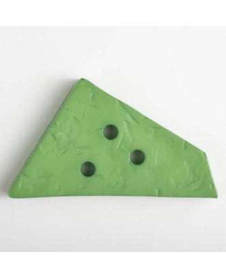 Kunststoffknopf ungewöhnliches Viereck mit Einkerbungen mit 3 Löchern - Größe: 70mm - Farbe: grün - Art.Nr. 450068