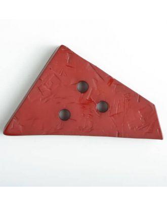 Kunststoffknopf ungewöhnliches Viereck mit Einkerbungen mit 3 Löchern -  Größe: 70mm - Farbe: rot - Art.Nr. 450071