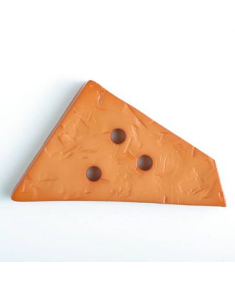 Kunststoffknopf ungewöhnliches Viereck mit Einkerbungen mit 3 Löchern - Größe: 70mm - Farbe: orange - Art.Nr. 450072
