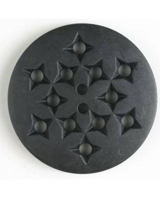 Kunststoffknopf mit 12 sternförmigen Vertiefungen mit 2 Löchern -  Größe: 32mm - Farbe: schwarz - Art.Nr. 370395