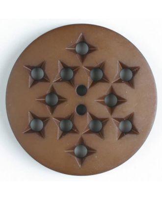 Kunststoffknopf mit 12 sternförmigen Vertiefungen mit 2 Löchern -  Größe: 32mm - Farbe: braun - Art.Nr. 376501