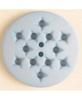 Kunststoffknopf mit 12 sternförmigen Vertiefungen mit 2 Löchern - Größe: 32mm - Farbe: blau - Art.Nr. 376502