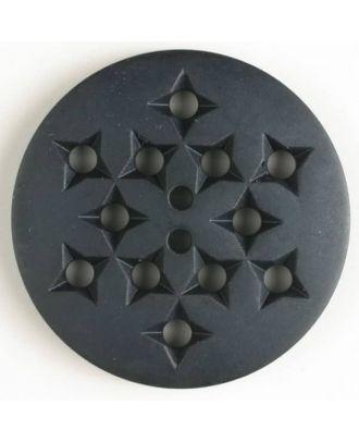 Kunststoffknopf mit 12 sternförmigen Vertiefungen mit 2 Löchern - Größe: 32mm - Farbe: marineblau - Art.Nr. 370396