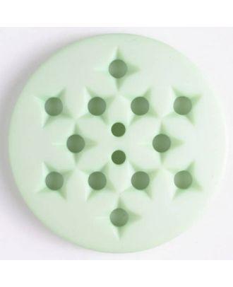 Kunststoffknopf mit 12 sternförmigen Vertiefungen mit 2 Löchern - Größe: 32mm - Farbe: grün - Art.Nr. 376503