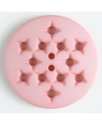 Kunststoffknopf mit 12 sternförmigen Vertiefungen mit 2 Löchern -  Größe: 32mm - Farbe: pink - Art.Nr. 376504