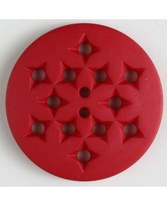 Kunststoffknopf mit 12 sternförmigen Vertiefungen mit 2 Löchern -  Größe: 32mm - Farbe: rot - Art.Nr. 370397