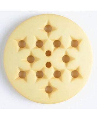 Kunststoffknopf mit 12 sternförmigen Vertiefungen mit 2 Löchern - Größe: 32mm - Farbe: gelb - Art.Nr. 376505