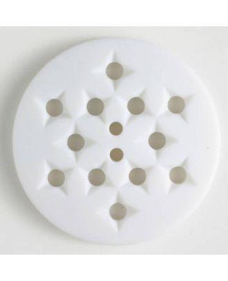 Kunststoffknopf mit 12 sternförmigen Vertiefungen mit 2 Löchern -  Größe: 32mm - Farbe: weiss - Art.Nr. 370394