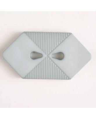 Kunststoffknopf langgezogenes Sechseck mit 2 tropfenförmigen Löchern - Größe: 25mm - Farbe: grau - Art.Nr. 316506