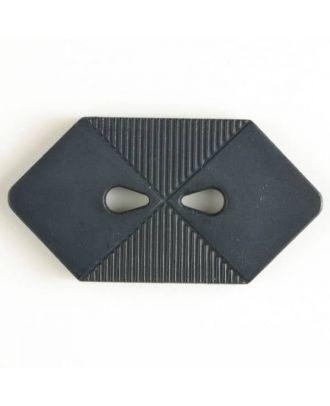 Kunststoffknopf langgezogenes Sechseck mit 2 tropfenförmigen Löchern - Größe: 38mm - Farbe: marineblau - Art.Nr. 370400