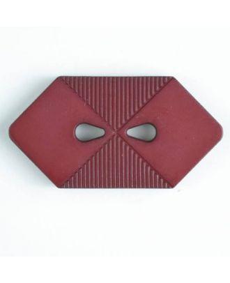 Kunststoffknopf langgezogenes Sechseck mit 2 tropfenförmigen Löchern - Größe: 38mm - Farbe: rot - Art.Nr. 376511
