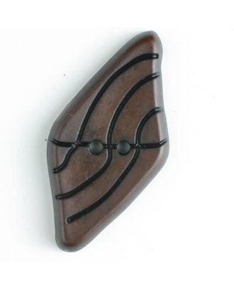 Kunststoffknopf langgezogenes Viereck mit schwarzem Strichmuster mit 2 Löchern - Größe: 55mm - Farbe: braun - Art.Nr. 420053