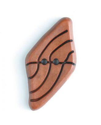 Kunststoffknopf langgezogenes Viereck mit schwarzem Strichmuster mit 2 Löchern - Größe: 55mm - Farbe: orange - Art.Nr. 420057