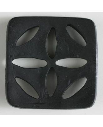 Kunststoffknopf, quadratisch, mit 8 zapfenförmigen Löchern  -  Größe: 60mm - Farbe: schwarz - Art.Nr. 440067