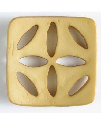 Kunststoffknopf, quadratisch, mit 8 zapfenförmigen Löchern  - Größe: 60mm - Farbe: beige - Art.Nr. 440068