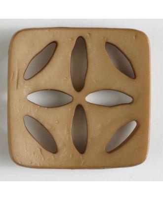 Kunststoffknopf, quadratisch, mit 8 zapfenförmigen Löchern  - Größe: 60mm - Farbe: beige - Art.Nr. 440069