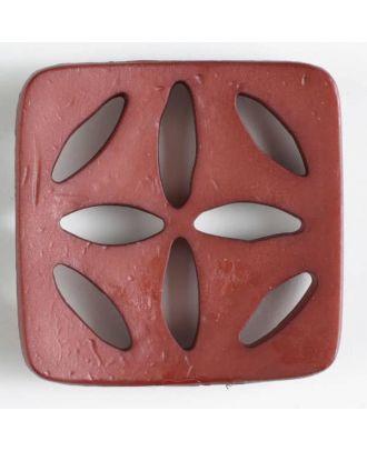 Kunststoffknopf, quadratisch, mit 8 zapfenförmigen Löchern  - Größe: 60mm - Farbe: braun - Art.Nr. 440070