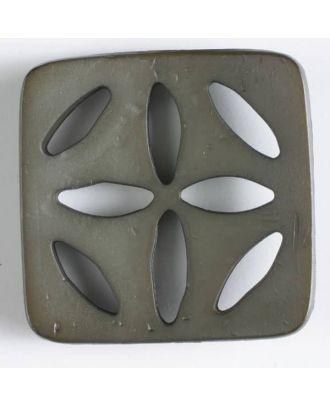 Kunststoffknopf, quadratisch, mit 8 zapfenförmigen Löchern  - Größe: 60mm - Farbe: braun - Art.Nr. 440071