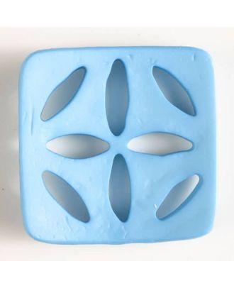 Kunststoffknopf, quadratisch, mit 8 zapfenförmigen Löchern  - Größe: 60mm - Farbe: blau - Art.Nr. 440072