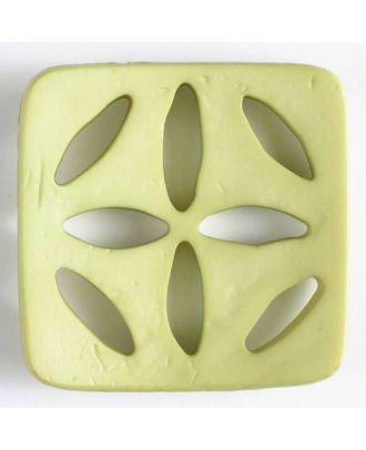 Kunststoffknopf, quadratisch, mit 8 zapfenförmigen Löchern  - Größe: 60mm - Farbe: grün - Art.Nr. 440074