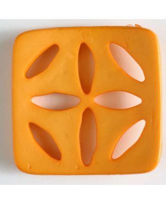 Kunststoffknopf, quadratisch, mit 8 zapfenförmigen Löchern  - Größe: 60mm - Farbe: orange - Art.Nr. 440077