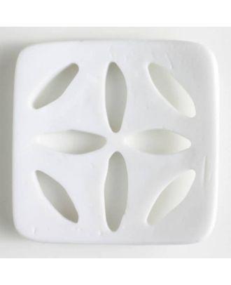 Kunststoffknopf, rechteckig - Größe: 60mm - Farbe: weiß - Art.Nr. 440078