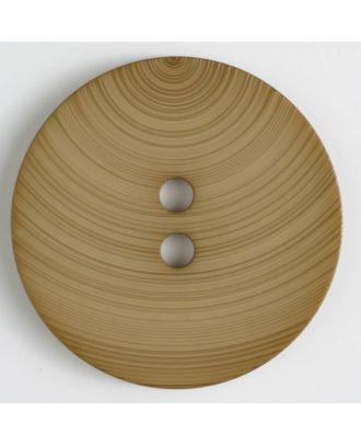 großer Kunststoffknopf mit ungewöhnlichem Streifenmotiv mit 2 Löchern - Größe: 54mm - Farbe: beige - Art.Nr. 450085