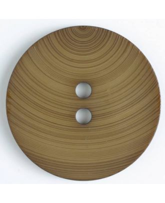großer Kunststoffknopf mit ungewöhnlichem Streifenmotiv mit 2 Löchern - Größe: 54mm - Farbe: braun - Art.Nr. 450086