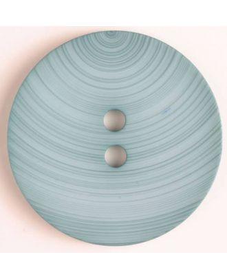 großer Kunststoffknopf mit ungewöhnlichem Streifenmotiv mit 2 Löchern - Größe: 54mm - Farbe: blau - Art.Nr. 450087