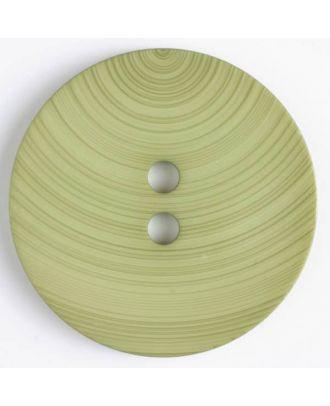 großer Kunststoffknopf mit ungewöhnlichem Streifenmotiv mit 2 Löchern - Größe: 54mm - Farbe: grün - Art.Nr. 450088