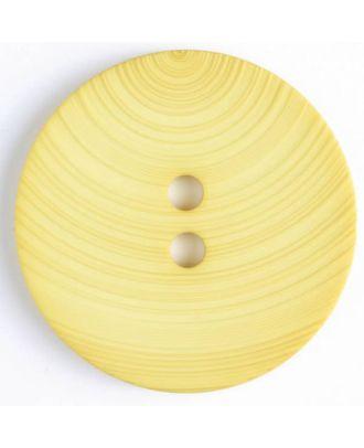 großer Kunststoffknopf mit ungewöhnlichem Streifenmotiv mit 2 Löchern - Größe: 54mm - Farbe: gelb - Art.Nr. 450091