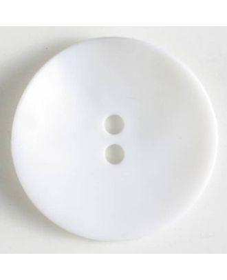 Kunststoffknopf, schlicht, mattglänzend, 2 Loch - Größe: 40mm - Farbe: weiß - Art.Nr. 400114