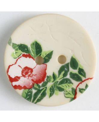 Polyamidknopf mit wunderschönem Rosendekor  bedruckt, 2 Loch -  Größe: 28mm - Farbe: beige - Art.Nr. 370655