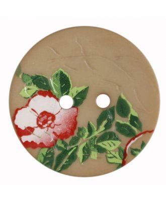 Polyamidknopf mit wunderschönem Rosendekor  bedruckt, 2 Loch - Größe: 28mm - Farbe: beige - Art.Nr. 370656