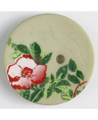 Polyamidknopf mit wunderschönem Rosendekor  bedruckt, 2 Loch - Größe: 28mm - Farbe: grün - Art.Nr. 370657