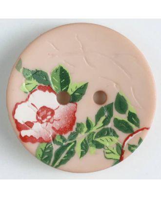 Polyamidknopf mit wunderschönem Rosendekor  bedruckt, 2 Loch - Größe: 28mm - Farbe: pink - Art.Nr. 370658
