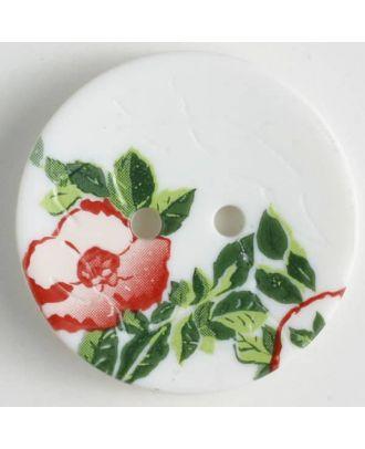 Polyamidknopf mit wunderschönem Rosendekor  bedruckt, 2 Loch -  Größe: 28mm - Farbe: weiss - Art.Nr. 370654