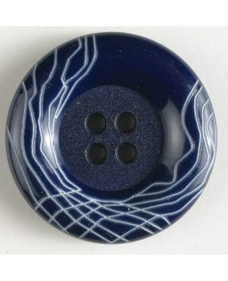 Kunststoffknopf mit wulstigem Rand mit weißem Netzmuster mit 4 Löchern -  Größe: 18mm - Farbe: marineblau - Art.Nr. 261124