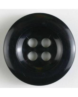 Polyesterknopf leicht glänzend, mit breitem Rand, 4-loch - Größe: 28mm - Farbe: schwarz - Art.Nr. 341017