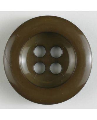Polyesterknopf leicht glänzend, mit breitem Rand, 4-loch - Größe: 28mm - Farbe: braun - Art.Nr. 345621