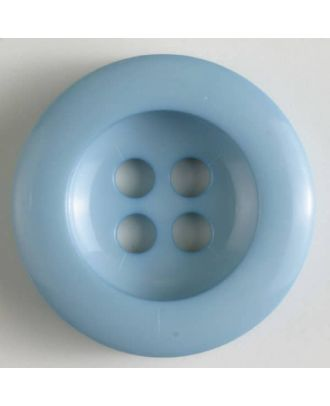 Polyesterknopf leicht glänzend, mit breitem Rand, 4-loch - Größe: 28mm - Farbe: blau - Art.Nr. 345622
