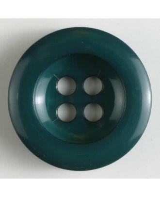 Polyesterknopf leicht glänzend, mit breitem Rand, 4-loch - Größe: 28mm - Farbe: grün - Art.Nr. 345624