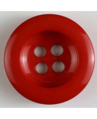 Polyesterknopf leicht glänzend, mit breitem Rand, 4-loch - Größe: 28mm - Farbe: rot - Art.Nr. 341019
