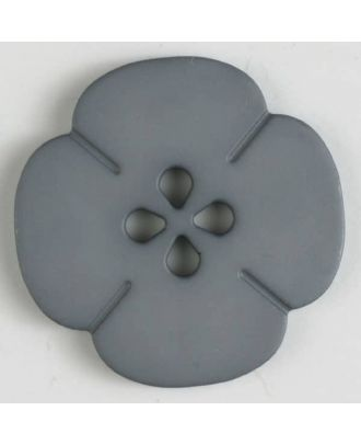 Kunststoffknopf Blume mit 2 Löchern - Größe: 20mm - Farbe: grau - Art.Nr. 264609