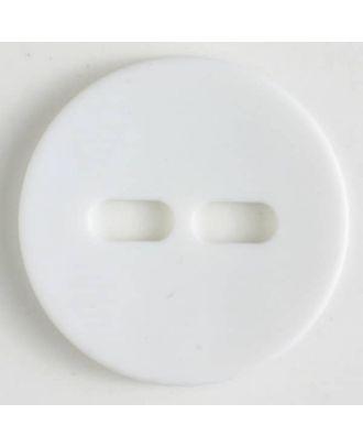 Polyamidknopf schlicht mit 2 ovalen Knopflöchern - Größe: 28mm - Farbe: weiss - Art.Nr. 341058