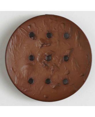 Polyamidknopf rund mit 9 Löchern zur Individualisierung mit Garn -  Größe: 45mm - Farbe: braun - Art.Nr. 390288