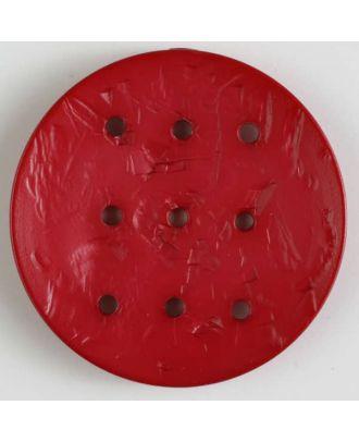 Polyamidknopf rund mit 9 Löchern zur Individualisierung mit Garn - Größe: 45mm - Farbe: rot - Art.Nr. 390293